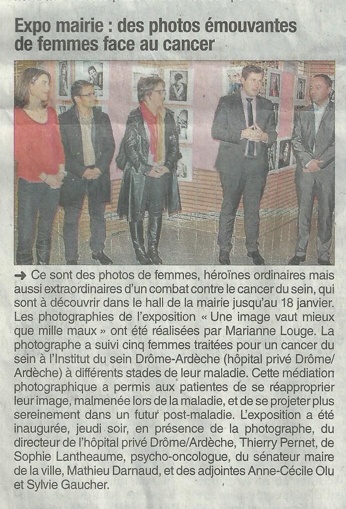 141221 DL expo cancer copie 696x1024 Parution presse Dauphiné Libéré du 21/12/2014   Exposition Cancer du sein